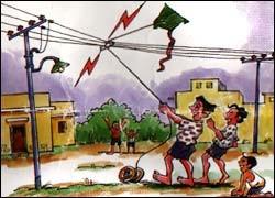 ವಿದ್ಯುತ್ ತಂತಿಗಳ ಸಮೀಪ ಗಾಳಿಪಟವನ್ನು ಹಾರಿಸಬೇಡಿ.Do not fly kites near electric lines.